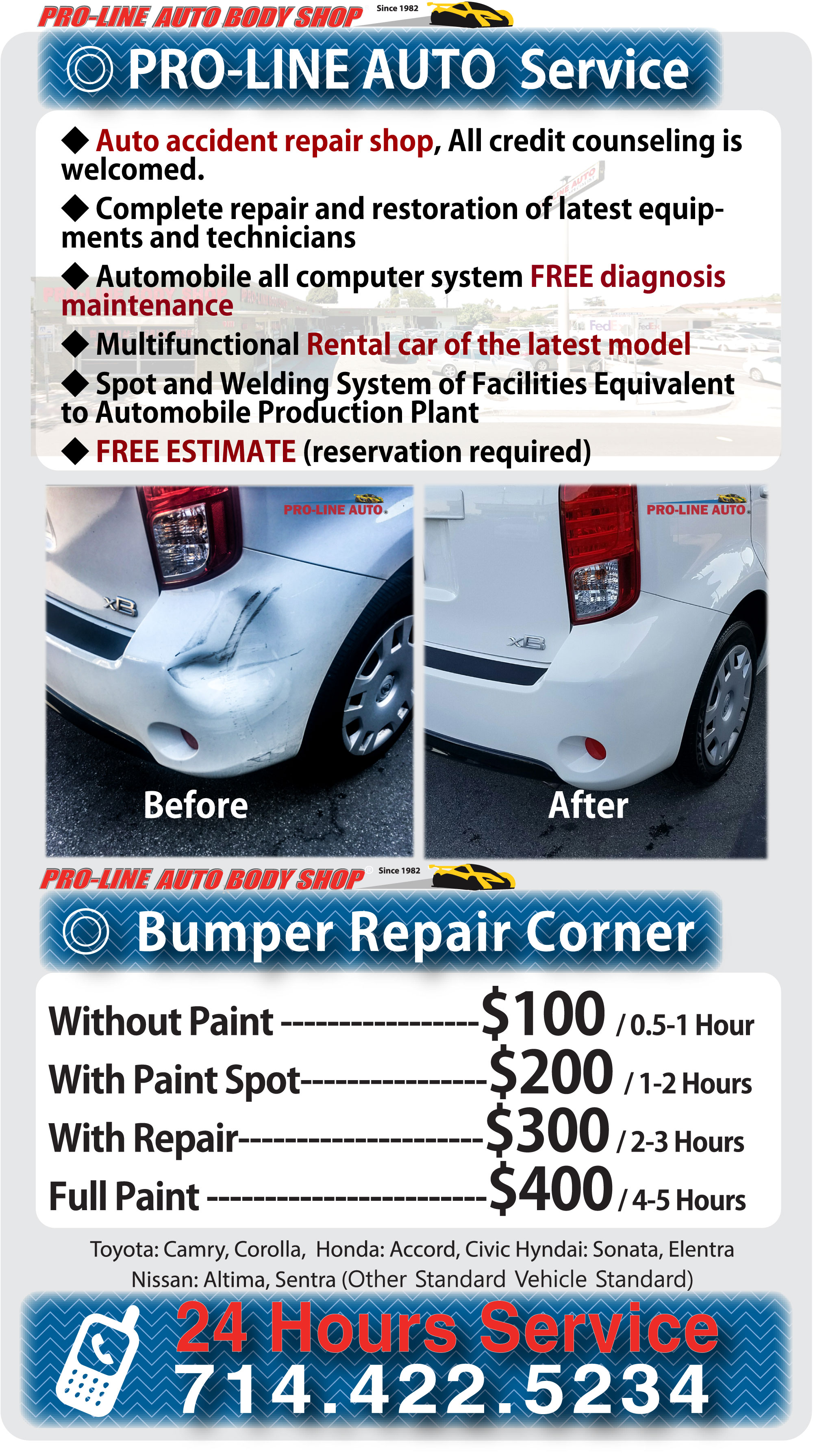 Prolinebodyshop Com Orange County Body Shop Pro Low Price Computerized Painting Pro Line Service Services We Specialize In Lifetime Warranty Repairs Better Than Pre Loss Condition We Work With All Insurance